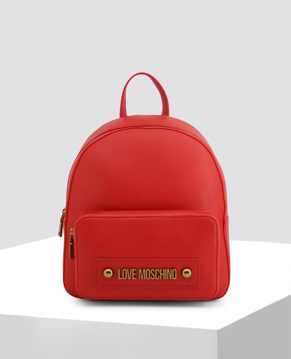 Red Casual Leather Backpack
