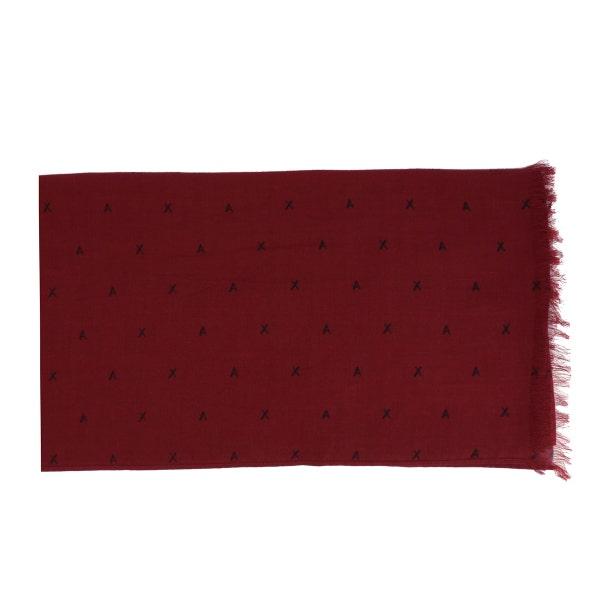 Red Printed Fringes Scarf