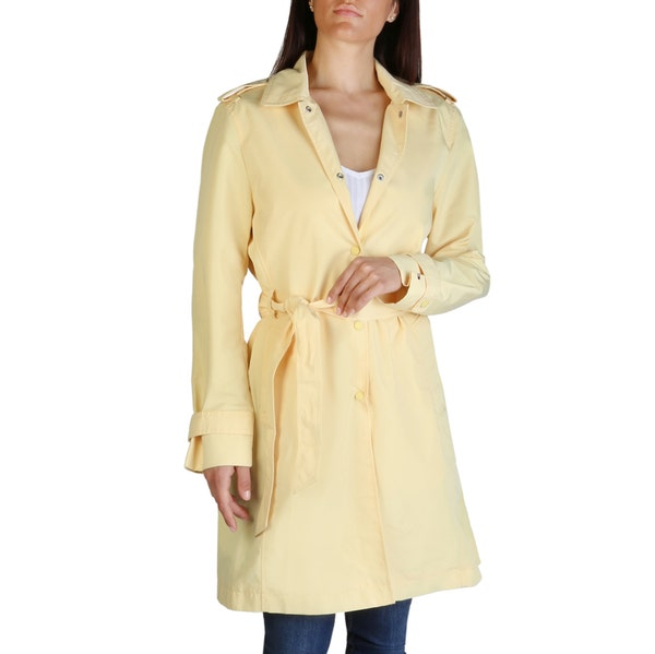 Long Sleeve Collar Neck Button Trench Coat