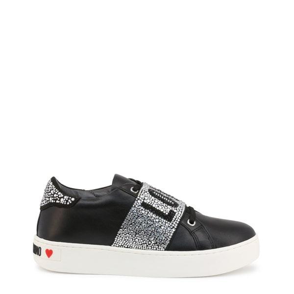 Black Round Toe Embellish Strap Sneakers