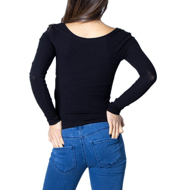 Round Neck Button Long Sleeve Knit Top