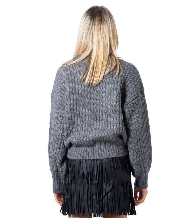 Grey Round Neck Long Sleeve Knitwear