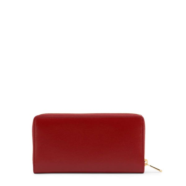 Red Leather Round Zip Wallet