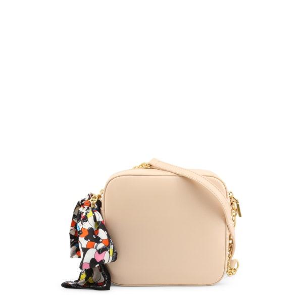 Beige Round Zipper Crossbody Bag
