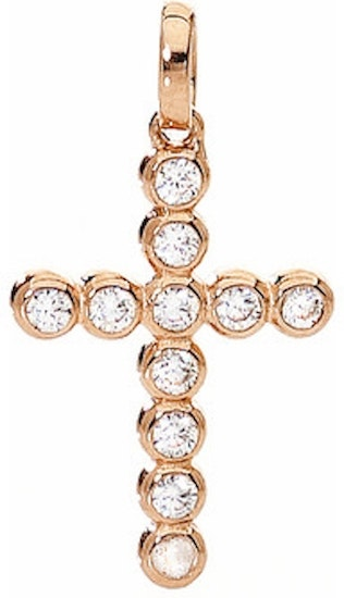 Small Silver Ip Rose Gold Cross And Zircons Pendant