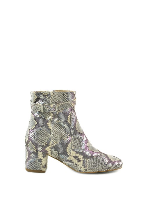 Snake Print Buckle Ankle Boots