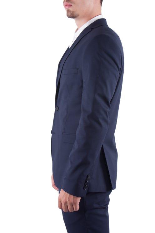 Blue Plain Lapel Collar Suits