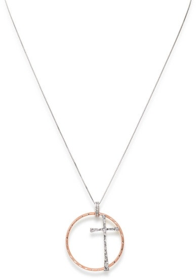 Cross Circle Rose Gold Necklace