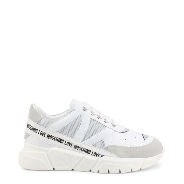 White Leather Tape Trim Logo Sneakers