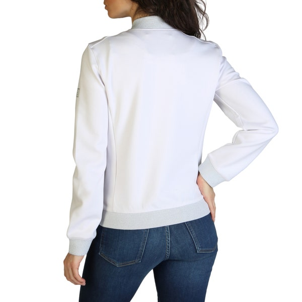 White Long Sleeve Quilted Zipper Jacket