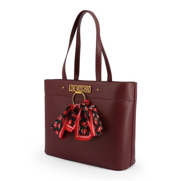 Red Leather Ribbon Shoulder Bag