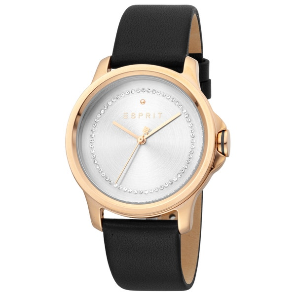 Leather Strap Analog Silver Dial Watch