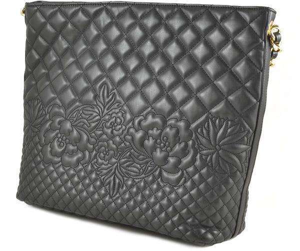 Quilted Floral Leather Handbag