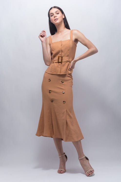 Buttoned Midi Skirt Co-Ord