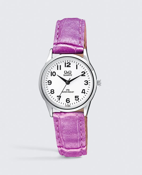 White Dial Leather Analog Watch