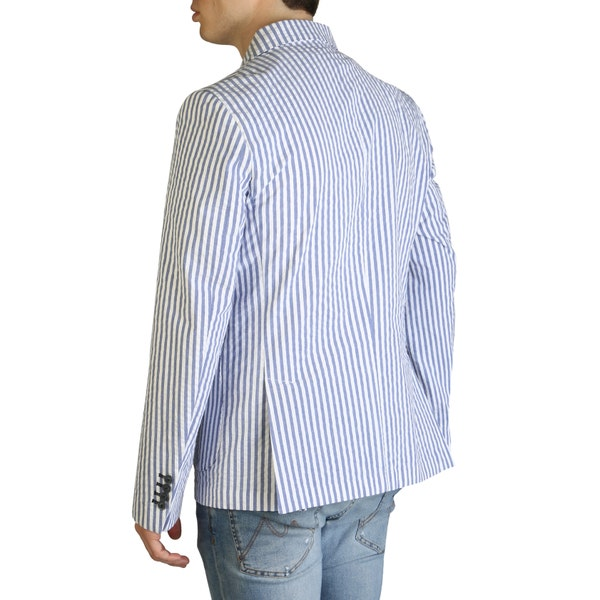 Blue Long Sleeve Striped Button Blazer