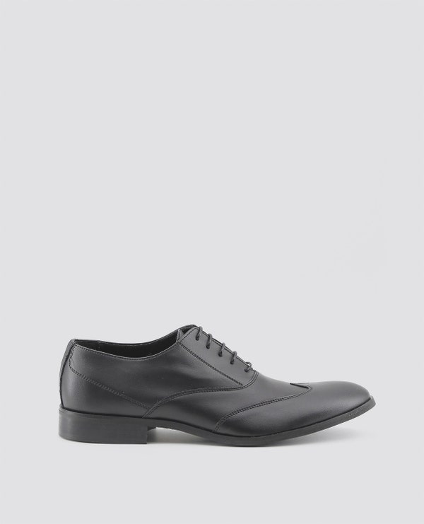 Black Isaie Block Heel Lace Up Shoes