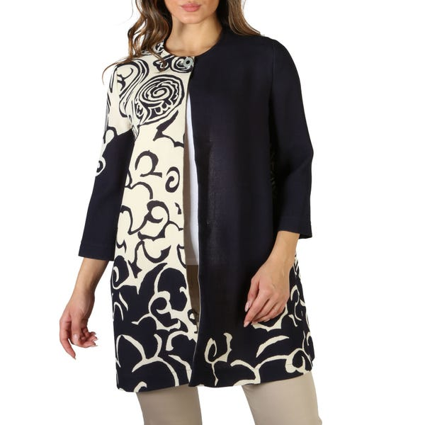 Geometric Long Sleeve Buttons Coat