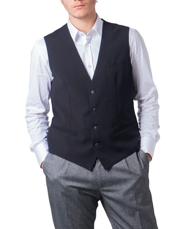 Black Pleated Buttons Gilet