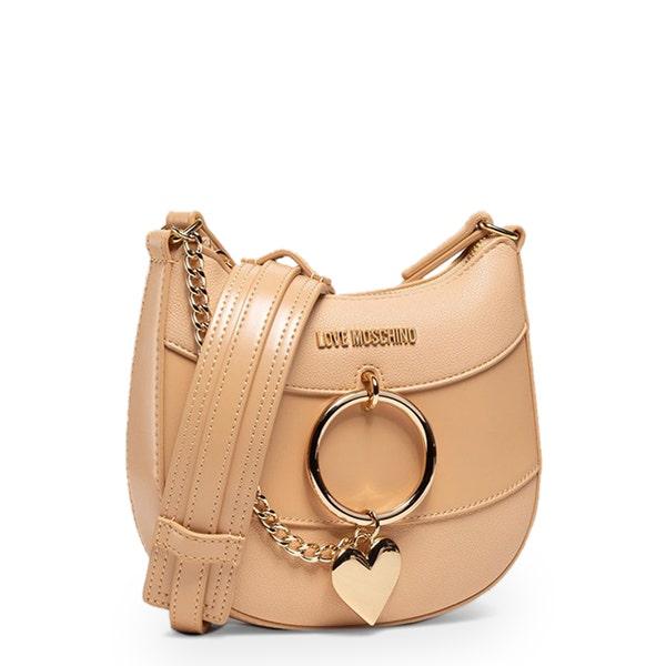 Brown Zipper Logo Crossbody Bag