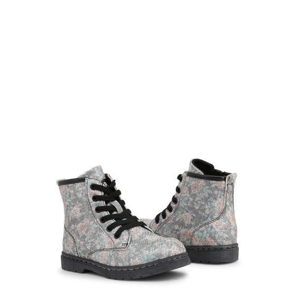 Round Toe Floral Printed Kids Ankle Boots