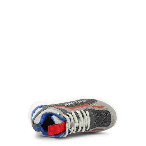 Grey Round Toe Lace Up Kids Sneakers