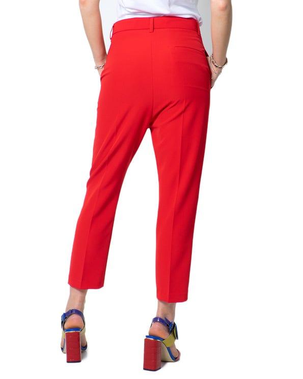 Red Classic Button Zipper Trouser