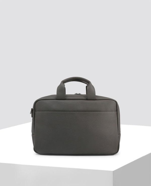 Grey Logo Leather Briefcase