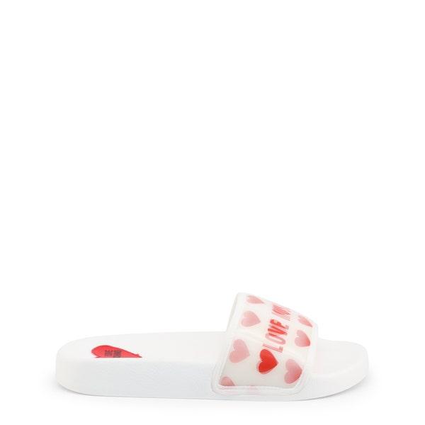 White Round Toe Heart Print Slides