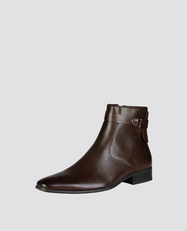 Brown Casper Buckle Ankle Boots