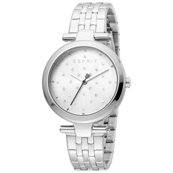 Round Silver Dial Stone Quartz Watch