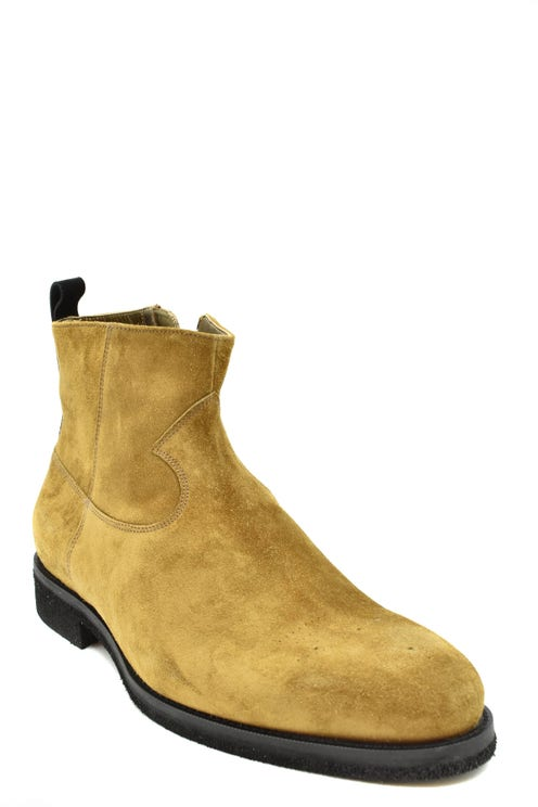 Suede Zipper Ankle Boots