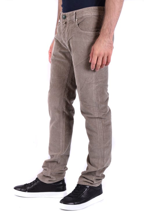 Corduroy Button Zipper Trouser