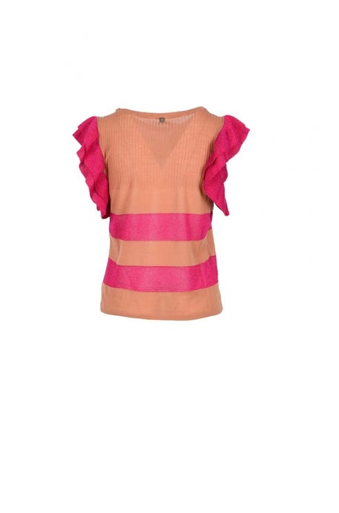Round Neck Ruffle Sleeve Knit Top
