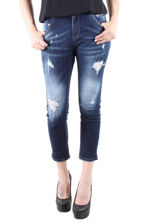 Washed Ripped Effect Crop Jeans