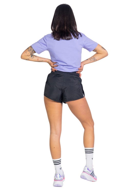Black Elastic Waist Logo Sports Short