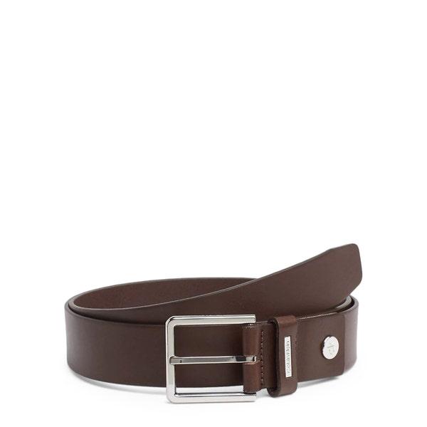 Brown Leather Steel Buckle Adjustable Belt