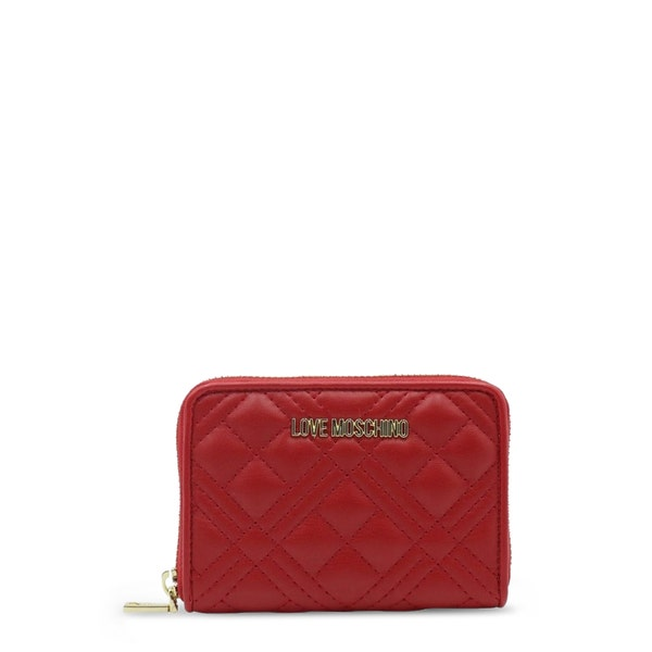 Red Leather  Quilted Zipper Wallet