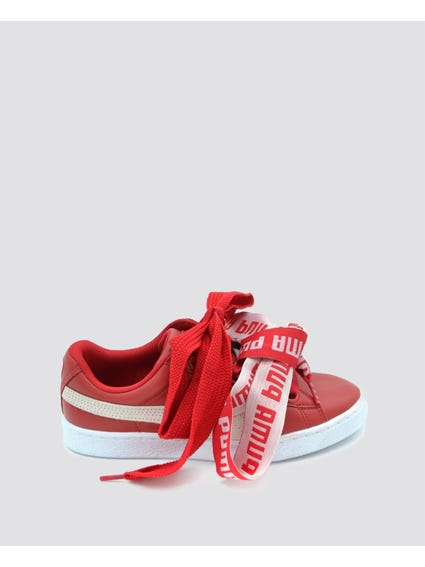 Red Free Lace-Up Sneakers