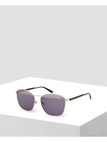 Argent Double Bridge Square Sunglasses