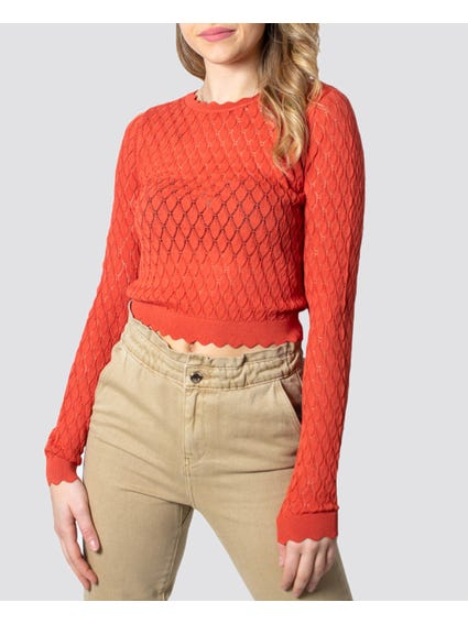 Coral Long Sleeves Knitted Cropped Top