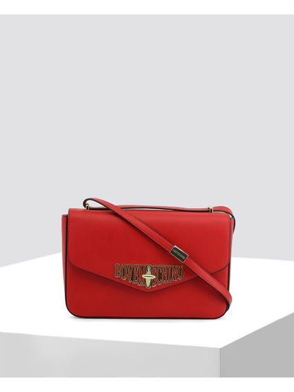 Red Twist Lock Crossbody Bag