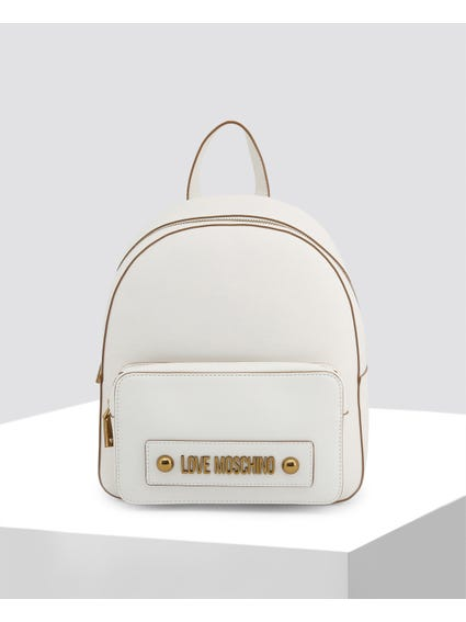 White Casual Leather Backpack