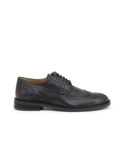 Black Leather Lace Up Brogue Shoes