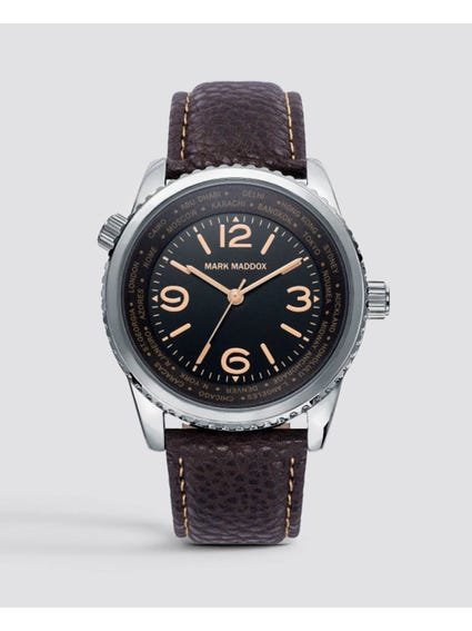 Leather Strap Black Dial Quartz Watch