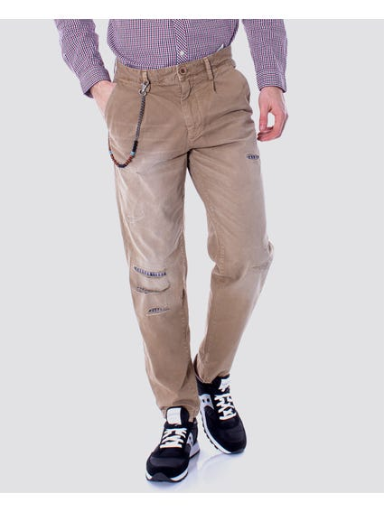 Beige Distressed Trouser