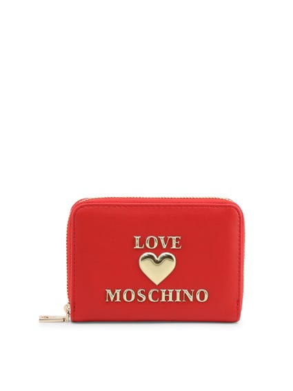 Red Embossed Love Zip Wallet