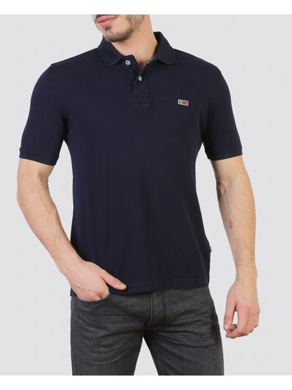 Navy Dual Button Polo Shirt