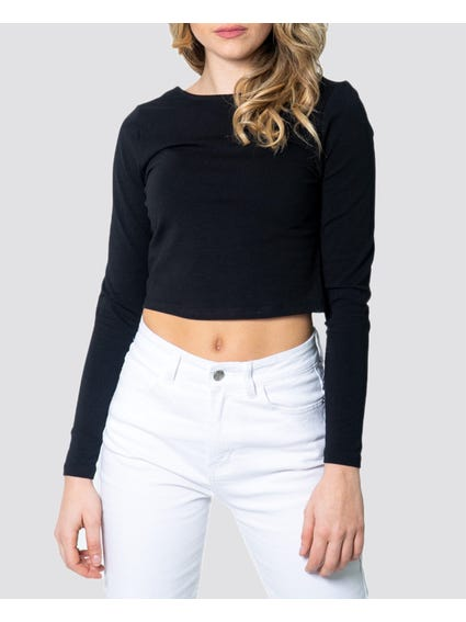Black Basic Long Sleeves Cropped Top