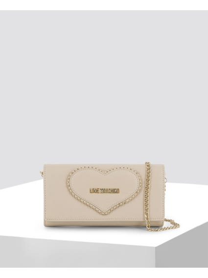 Off White Studded Clutch Bag